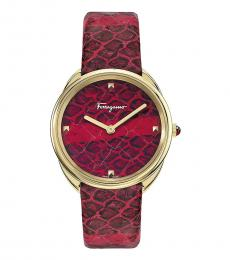 Salvatore Ferragamo Red Cuir Watch