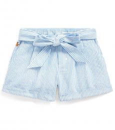 Ralph Lauren Little Girls Blue White Belted Seersucker Short