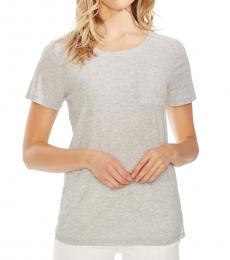 Vince Camuto Light Grey Stripe Mixed Media T-Shirt