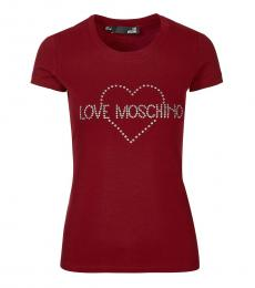 Love Moschino Red Crew Neck Logo Tee