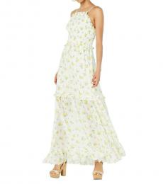 Betsey Johnson White Floral Ruffled Casual Maxi Dress