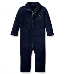 Baby Boys French Navy French-Rib Coverall