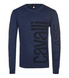 Cavalli Class Navy Blue Front Logo Sweater