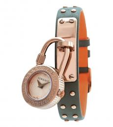 Versace Orange-Green Medusa Lock Icon Watch