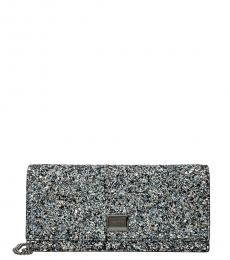 Jimmy Choo Blue Lila Glitter Clutch