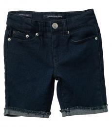 Calvin Klein Little Girls Dark Rinse Cut Off Bermuda Shorts