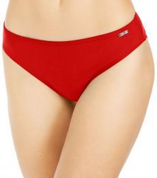 DKNY Red Solid Hipster Bikini Bottom