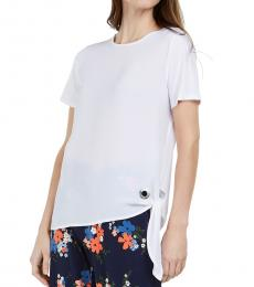 Michael Kors White Mixed-Media Tie-Hem Top