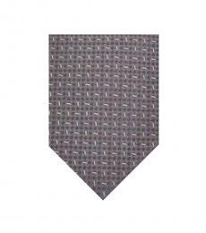 Armani Collezioni Grey-Black Geometric Tie