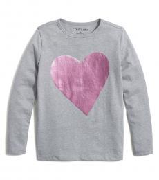 J.Crew Little Girls Grey Foil Heart T-Shirt