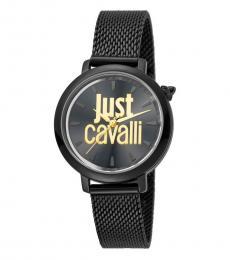 Just Cavalli Black Logo Mesh Watch