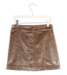 Moncler Little Girls Brown Lurex Button Skirt