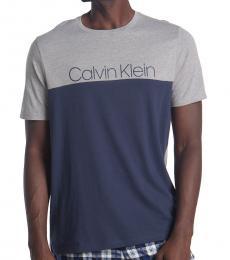Calvin Klein Blue Crew Neck Logo T-Shirt