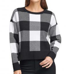 Black Buffalo Plaid Fine Cropped Sweater