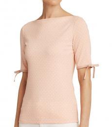 Ralph Lauren Pink Dot Polka-Dot Cotton-Blend Top
