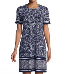 Michael Kors Blue White Tansy Shirt Dress