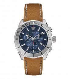 Versace Silver Brown Chronograph Watch