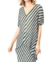 Diane Von Furstenberg Multi Color Jolene Striped V-Neck Top