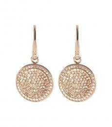 Michael Kors Rose Gold Crystal Disc Drop Earrings