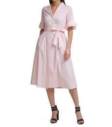 Rose Ruffle Sleeve Shirtdress