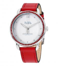 Coach Red Delancey Crystal Dial Watch