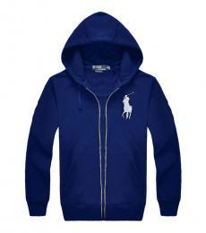 Ralph Lauren Navy Blue Silver Pony Zipper Hoodie