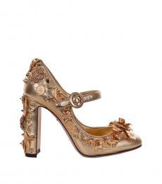 Gold Floral Embellished Heels
