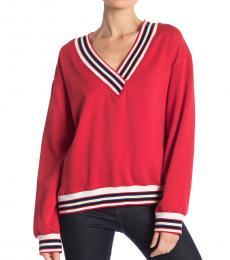 Red Stripe Contrast Sweater