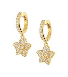 Gold Hoop & Pave Bloom Earrings