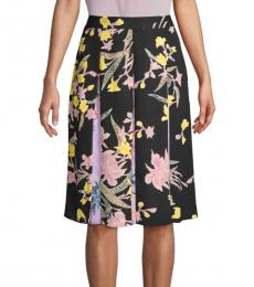 Diane Von Furstenberg Black Floral Pleated Skirt