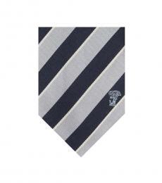 Versace Navy Silver Stripe Tie