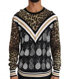 Dolce & Gabbana Dark Brown Leopard Pineapple Silk Sweater