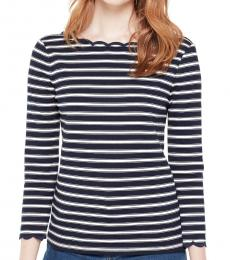 Kate Spade Blue Cream Stripe Scallop Knit Top