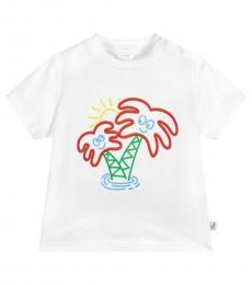 Baby Girls White Graphic T-Shirt