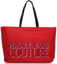 Versace Jeans Red Front Logo Large Tote