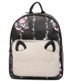 Betsey Johnson Black Animal School Large Backpack