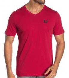 Ruby Red V-Neck Horseshoe Logo T-Shirt