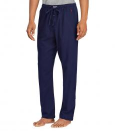 Ralph Lauren Heather Navy Drawstring Flannel Pants