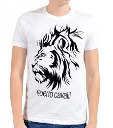 Roberto Cavalli White Lion Logo T-Shirt