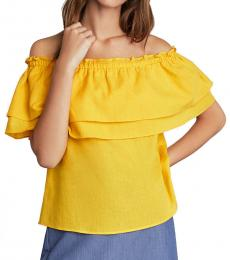 Yellow OffShoulder Flounced Top