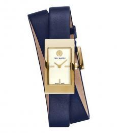 Tory Burch Navy-Gold Double Wrap Watch