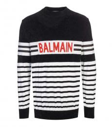 Black Striped Logo Sweater