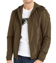 Michael Kors Olive Hooded Full-Zip Jacket