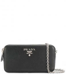 Prada Black Silver Logo Mini Crossbody