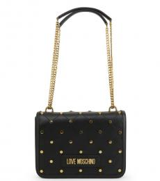 Love Moschino Black Criss-Cross Stitch Medium Shoulder Bag
