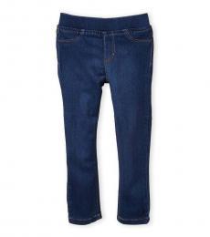 Little Girls Blue Stretch Denim Pull-On Leggings
