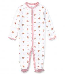 Baby Girls White Polo Bear Coverall