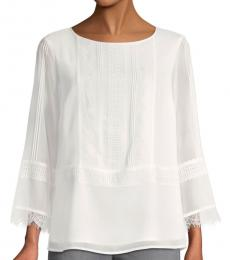 White Textured Lace-Trim Top