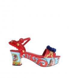 Dolce & Gabbana Red Multi Handpainted Heels