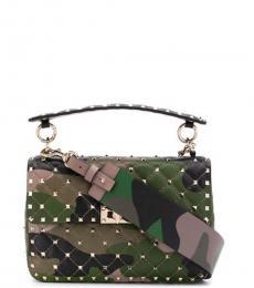 Valentino Garavani Camo Print Spike It Medium Shoulder Bag